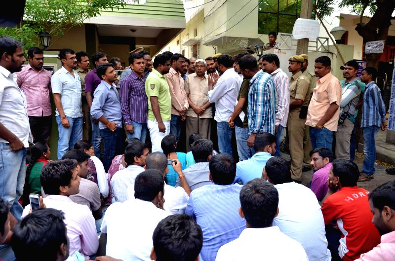 M. Kodandaram, the chairman of all-party Telangana Political Joint Action Committee interacts with the students of Osmania University in the University campus in Hyderabad  on July 19, 2014.
