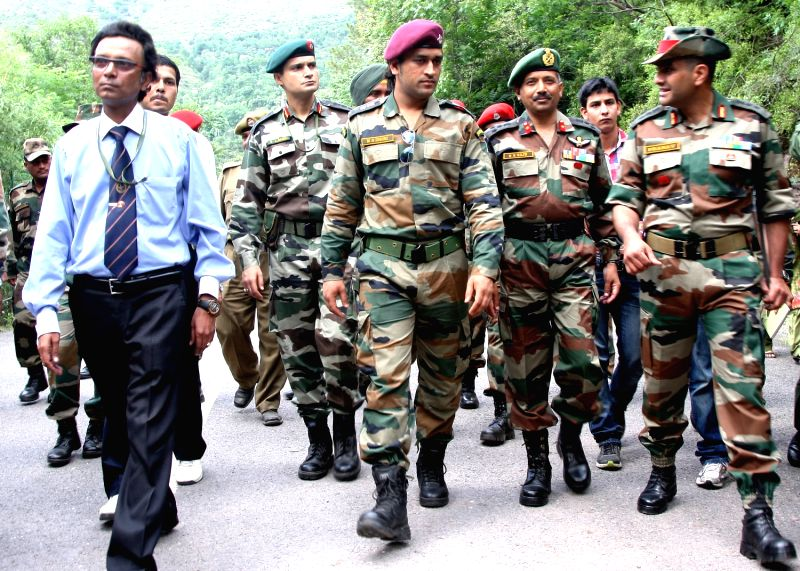 M S Dhoni with army personnel.