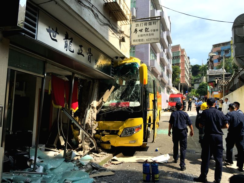MACAO, Aug. 8, 2016 - Photo taken on Aug. 8, 2016 shows the bus crash site in Macao, south China. At least 29 tourists from the Chinese mainland were injured and three seriously on Monday when a tour ...