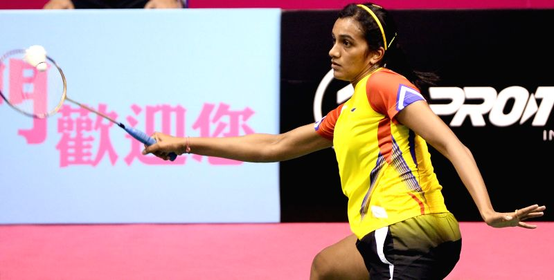 Indian badminton player P V Sindhu in action against Chinese player Li Han during the women's singles match of 2014 Macau Grand Prix Gold  in Macau, China on Nov 28, 2014. Sindhu won and has ..