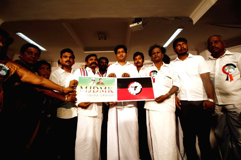 Madhavan, J Jayalalithaa's niece Deepa Jayakumar and others display MJDMK flag and symbol in Chennai, on April 21, 2017.