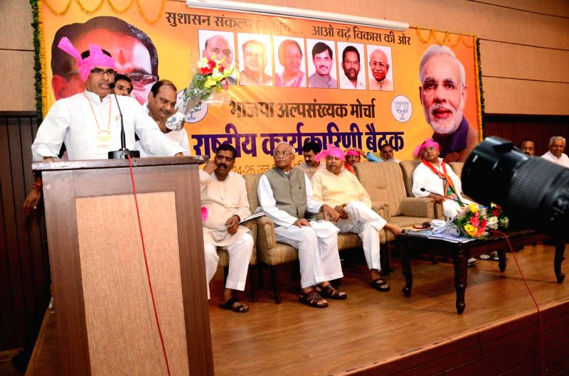 Madhya Pradesh Chief Minister and BJP leader Shivraj Singh Chouhan addresses during party's minority cell meeting in Bhopal on June 25, 2014.