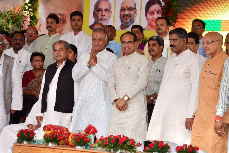 Madhya Pradesh Chief Minister Shivraj Singh Chouhan with state BJP chief Nandkumar Singh Chouhan and others during a party programme in Bhopal on Aug 25, 2014. - Nandkumar Singh Chouhan
