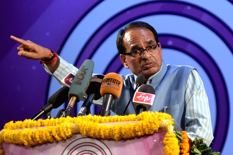 Madhya Pradesh Chief Minister Shivraj Singh Chouhan addresses during the Deendayal memorial lecture in Jaipur, on Nov 2, 2015.