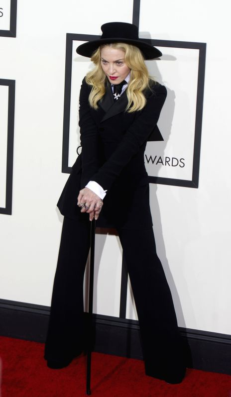 :Madonna Ciccone arrives on the red carpet for the 56th Grammy Awards at the Staples Center in Los Angeles, the United States, on Jan. 26, 2014.  (Xinhua/Yang ...