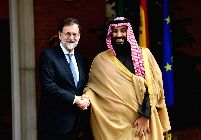 MADRID, April 13, 2018 - Spanish Prime Minister Mariano Rajoy Brey (L) meets with visiting Saudi Crown Prince Mohammed bin Salman in Madrid April 12, 2018. - Mariano Rajoy Brey