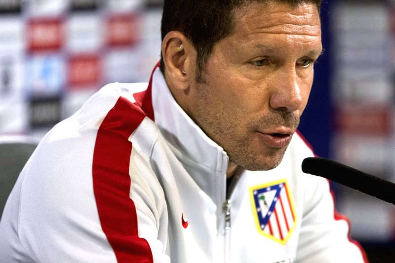 Head coach of Atletico Madrid, Argentine Diego Simeone, holds a press conference following a training session held on the eve of their Primera Division League soccer match against Cordoba, in ...