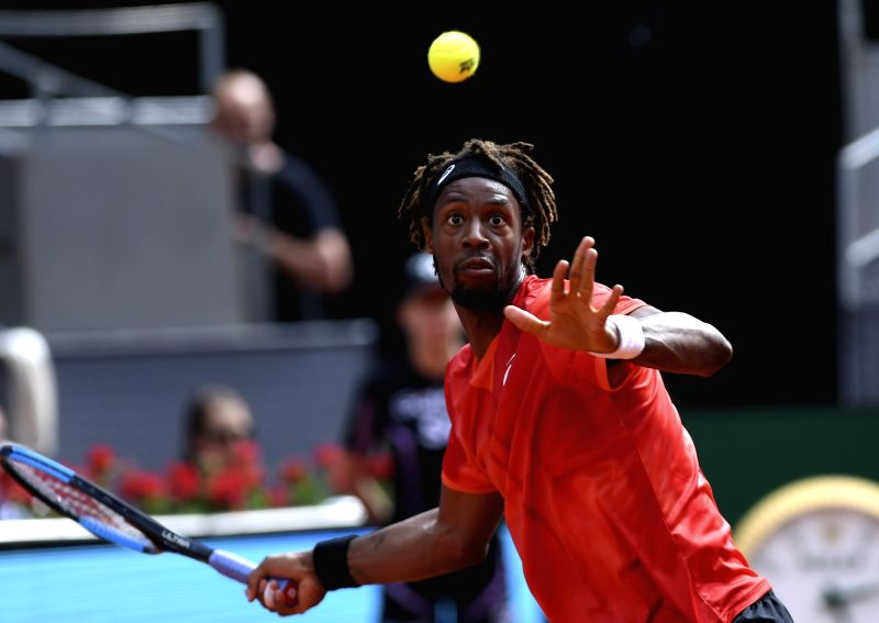 MADRID, May 10, 2018 - Gael Monfils of France returns the shot during the men's singles second round match against Rafael Nadal of Spain at the Madrid Open Tennis tournament in Madrid, Spain, May 9, ...