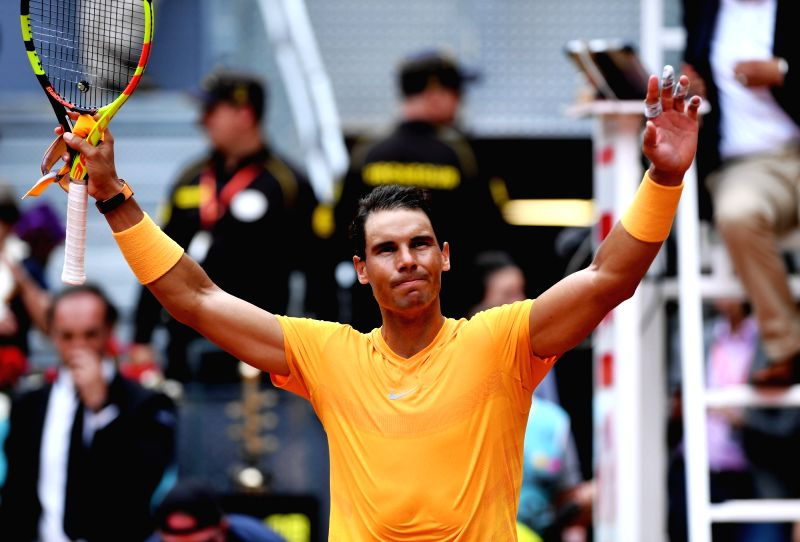 MADRID, May 10, 2018 - Rafael Nadal of Spain celebrates after the men's singles second round match against Gael Monfils of France at the Madrid Open Tennis tournament in Madrid, Spain, May 9, 2018. ...