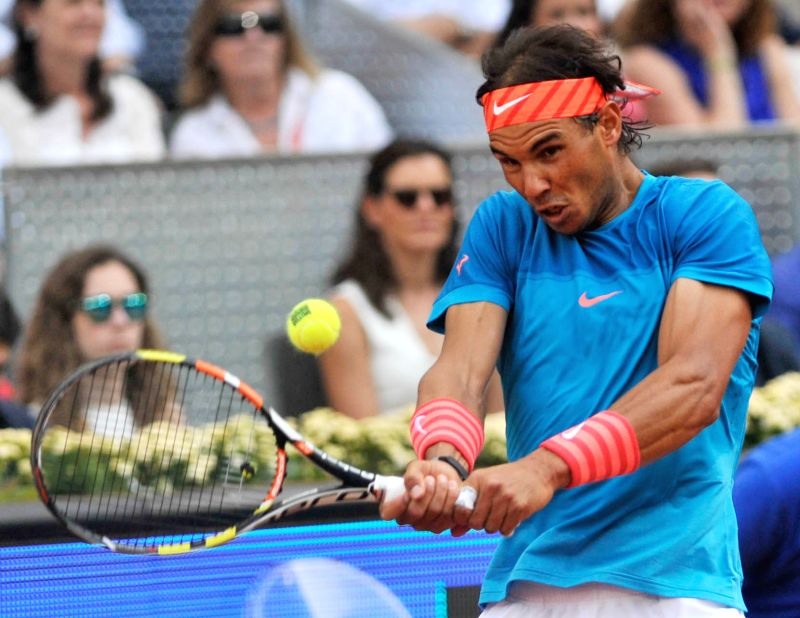 Spain's Rafael Nadal returns the ball during the final match against Britain's Andy Murray at the Madrid Open tennis tournament in Madrid, Spain, May 10, 2015. Nadal ...