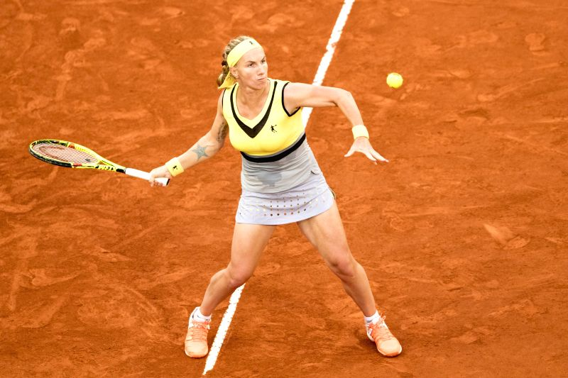 MADRID, May 13, 2017 - Svetlana Kuznetsova of Russia returns the ball during the Mutua Madrid Open WTA semifinal match against Kristina Mladenovic of France in Madrid, Spain, May 12, 2017. Kristina ...