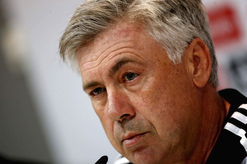 Real Madrid's Italian coach Carlo Ancelotti, during a press conference held after the team's training session at Valdebebas sports city in Madrid, Spain, 10 April 2015. Real Madrid will face ...
