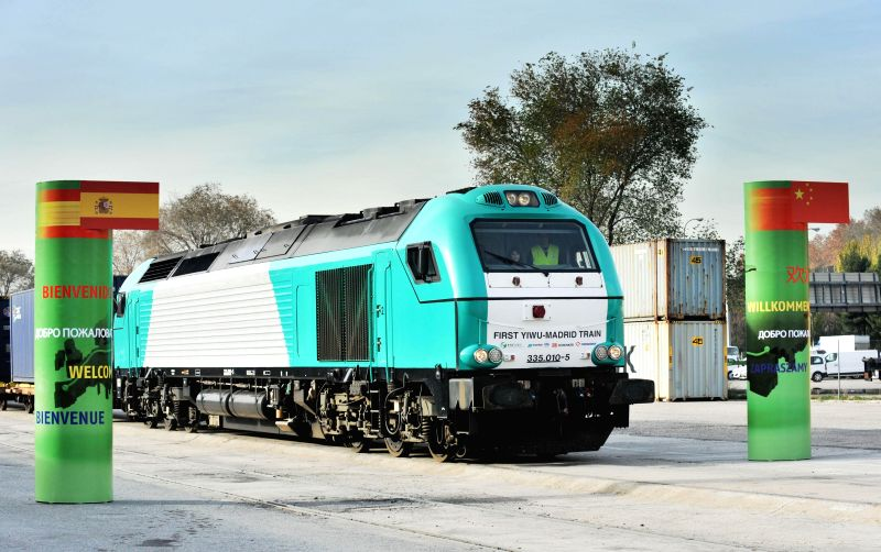 "Madrid (Spain): The train, named ""Yixinou"" arrives in Madrid Abronigal railway station in Madrid, Spain, on Dec. 9, 2014. Madrid was the final destination on Tuesday for a train which has .."