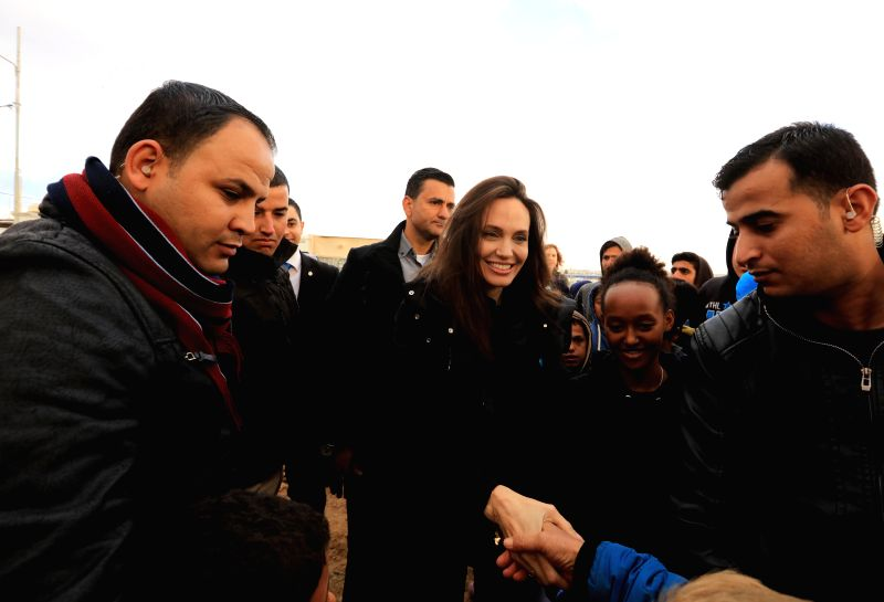 MAFRAQ (JORDAN), Jan. 28, 2018 The UN Higher Commission for Refugees (UNHCR) special envoy Angelina Jolie (C) visits the Zaatari Refugee Camp near Mafraq, Jordan, on Jan. 28, 2018. The UN ...