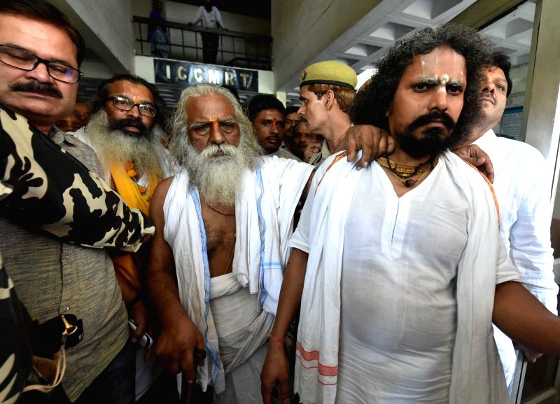 Mahant Nritya Gopal Das leaves after getting bail in Babri Masjid case by special CBI court in Lucknow on May 20, 2017.