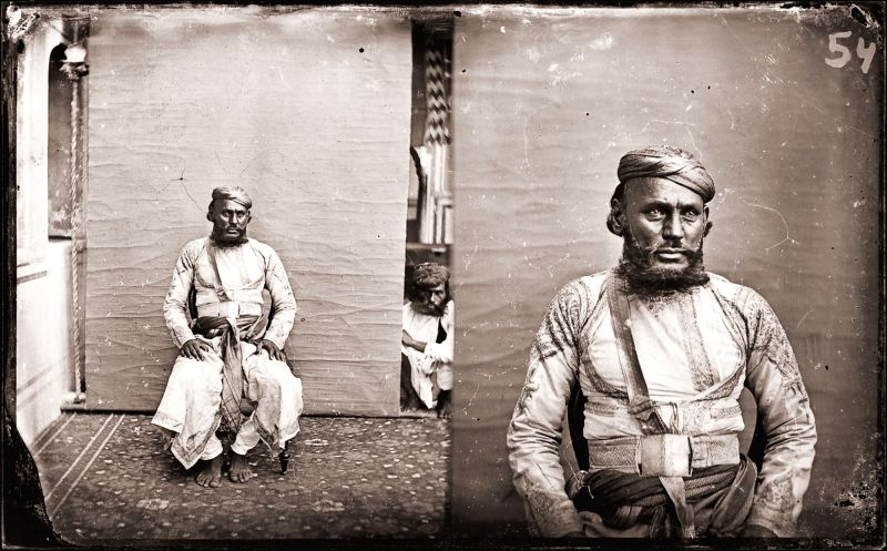 Maharaja Sawai Ram Singh II, Member of the royal household, Modern digital reprint from wet collodion glass plate negative, c. 1870 CE.
