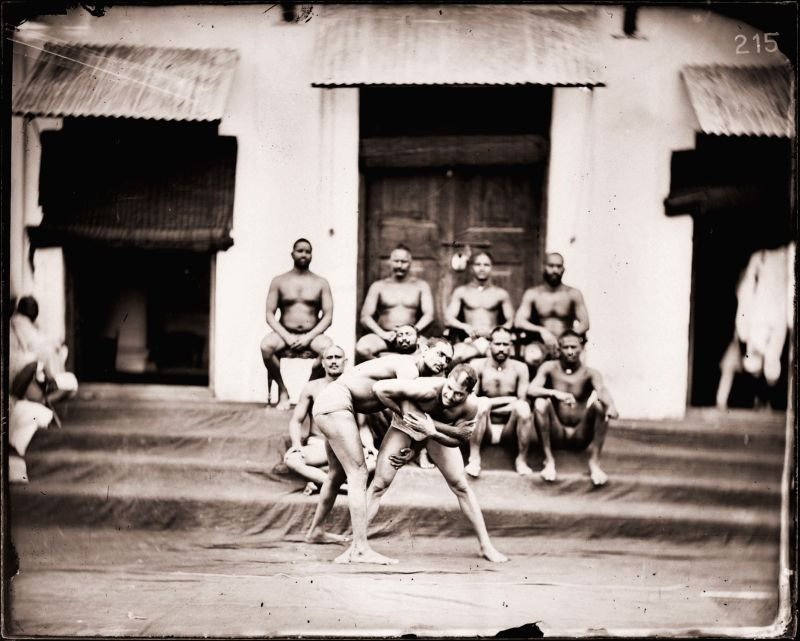 Maharaja Sawai Ram Singh II, Wrestlers in an akhara, Modern digital reprint from wet collodion glass plate negative, c. 1870 CE.