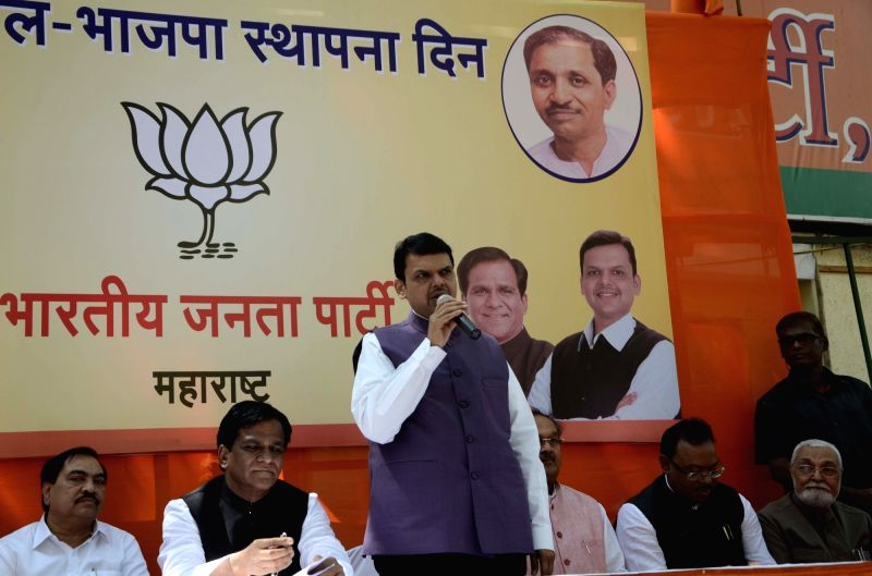 Maharashtra Chief Minister and BJP leader Devendra Fadnavis addresses during a programmme organised to celebrate party's foundation day in Mumbai on April 6, 2016.