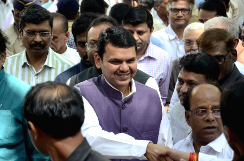 Maharashtra Chief Minister and BJP leader Devendra Fadnavis during a programmme organised to celebrate party's foundation day in Mumbai on April 6, 2016.