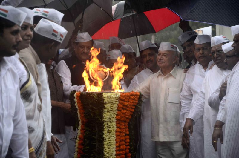 Maharashtra Chief Minister and Congress leader Prithviraj Chavan, Maharashtra Congress Chief Manikrao Thackeray, party leaders Narayan Rane, Ashok Chavan, Sushil Kumar Shinde and others during a ... - Sushil Kumar Shinde