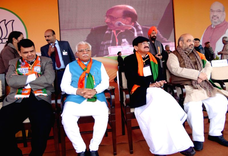 Maharashtra Chief Minister Devendra Fadnavis, Haryana Chief Minister Manohar Lal Khattar, Union Minister for Urban Development, Housing and Urban Poverty Alleviation and Parliamentary Affairs, M. ... - Devendra Fadnavis, M. Venkaiah Naidu, Manohar Lal Khattar and Amit Shah