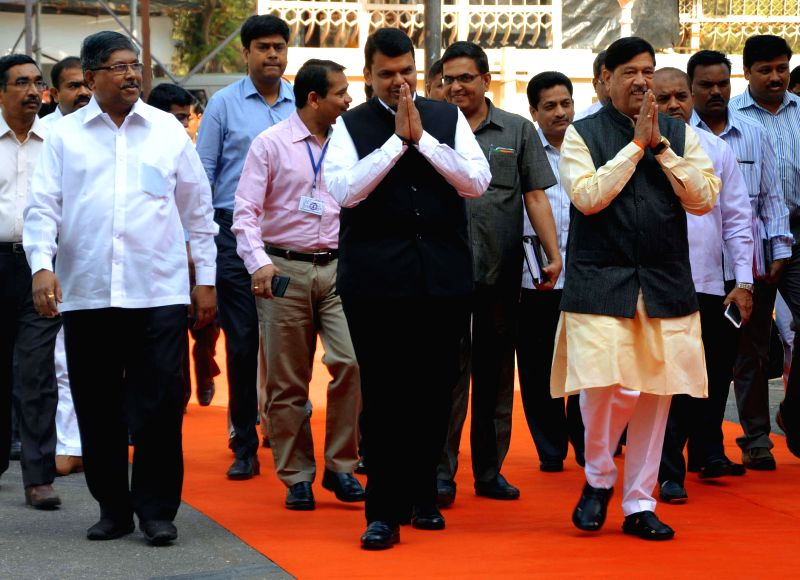 Maharashtra Chief Minister Devendra Fadnavis arrives to attend the budget session of the Maharashtra Assembly in Mumbai, on March 9, 2015. - Devendra Fadnavis