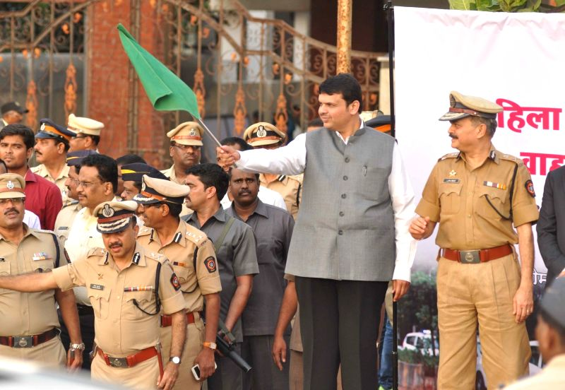 Maharashtra Chief Minister Devendra Fadnavis during a police programme in Mumbai on Nov 23, 2015.
