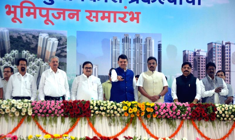 Maharashtra Chief Minister Devendra Fadnavis launches the redevelopment project of the British-era Bombay Development Directorate (BDD) chawls in Mumbai on April 22, 2017. - Devendra Fadnavis