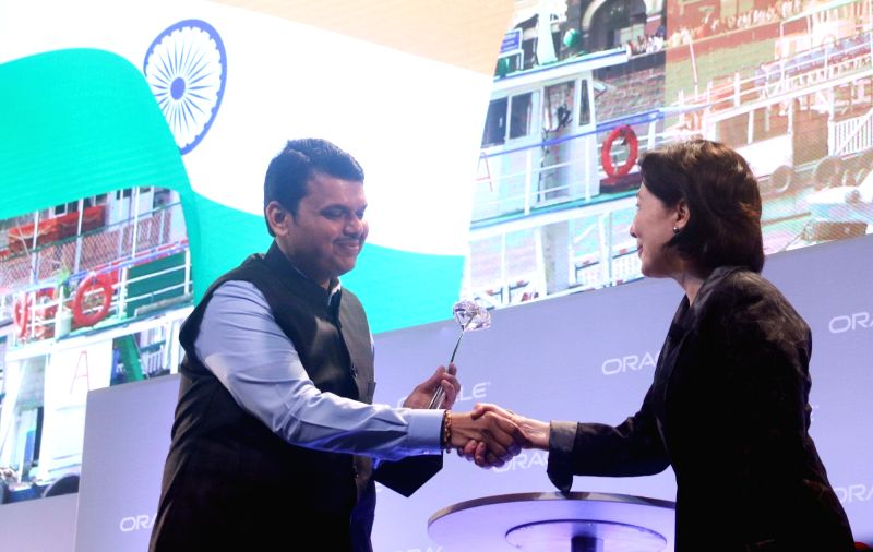 Maharashtra CM Devendra Fadnavis with Safra Catz, Co-CEO of Oracle Corp at a panel discussion during Oracle Open World  2017 convention  in New Delhi on May 9, 2017.