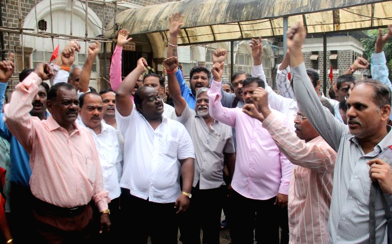 Maharashtra Government employees go on strike to press for implementation of 7th Pay Commission scales in Mumbai on Aug 7, 2018.