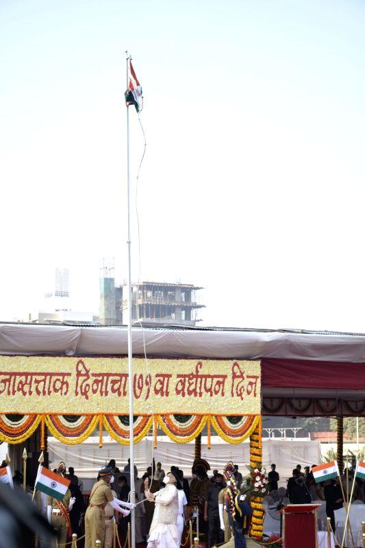 Maharashtra governor Bhagat Singh Koshyari unfurls the National Flag and addresses on Republic Day at Shivaji Park.