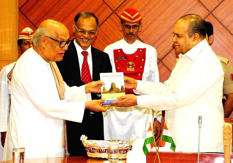 Maharashtra Governor K Sankaranarayanan during release of `Sthanpothi : Ek Puratattviya Abhyas` at Raj Bhavan in Mumbai on July 4, 2014.
