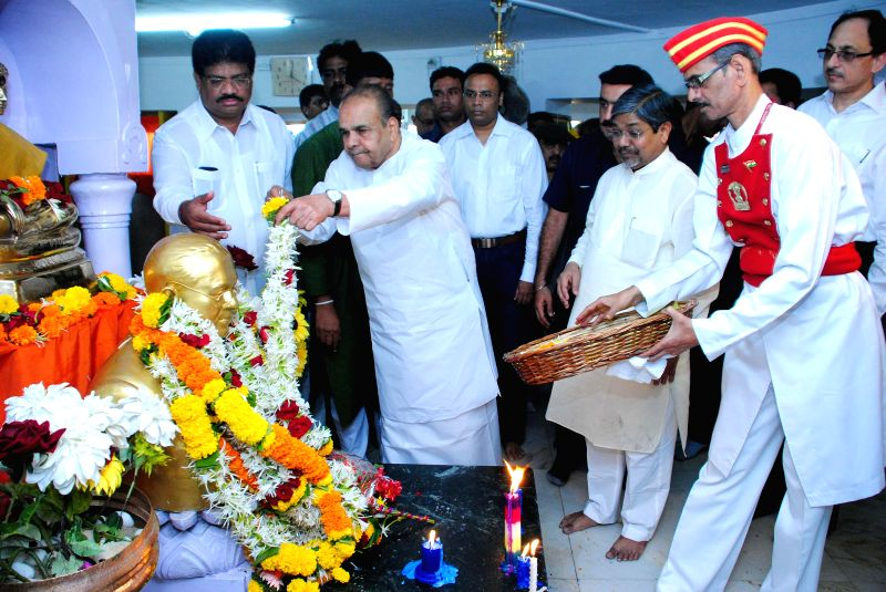 Maharashtra Governor K Sankaranarayanan pays tribute to Dr. BR Ambedkar on his birth anniversary at Chaitya Bhoomi in Mumbai on April 14, 2014.