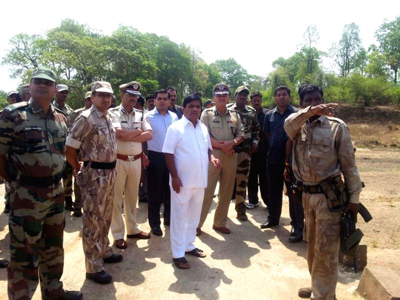Maharashtra Home Minister R R Patil visits Maoist infested Gadchiroli in Maharashtra where seven police commandos were killed in a recent Maoist attack, on May 13, 2014.