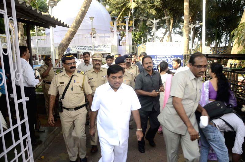 Maharashtra Home Minister RR Patil arrives to pay tribute to Dr. BR Ambedkar on his birth anniversary at Chaitya Bhoomi in Mumbai on April 14, 2014.