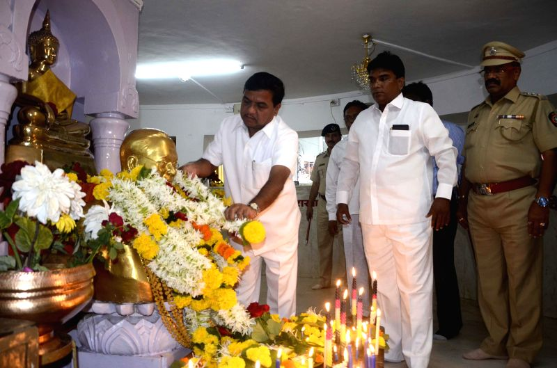 Maharashtra Home Minister RR Patil pays tribute to Dr. BR Ambedkar on his birth anniversary at Chaitya Bhoomi in Mumbai on April 14, 2014.