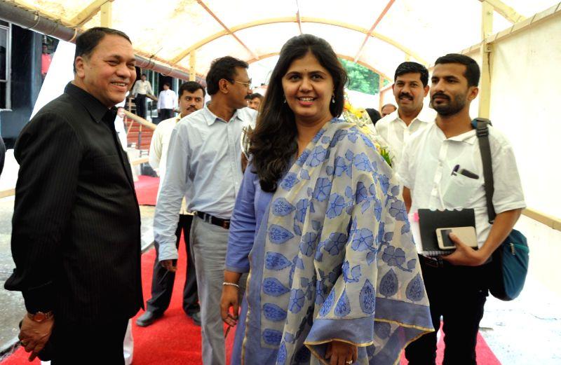 Maharashtra Minister for Rural Development Pankaja Munde arrives during the monsoon session at Maharashtra Assembly in Mumbai on July 18, 2016.