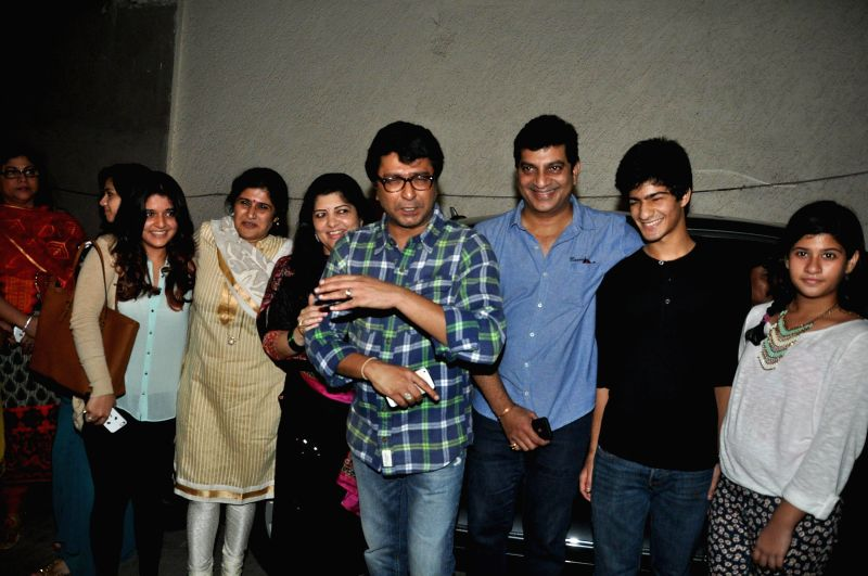 Maharashtra Navnirman Sena (MNS) chief Raj Thackeray along with his wife Sharmila Thackeray during the special screening of Marathi film Lai Bhaari on July 9, 2014.