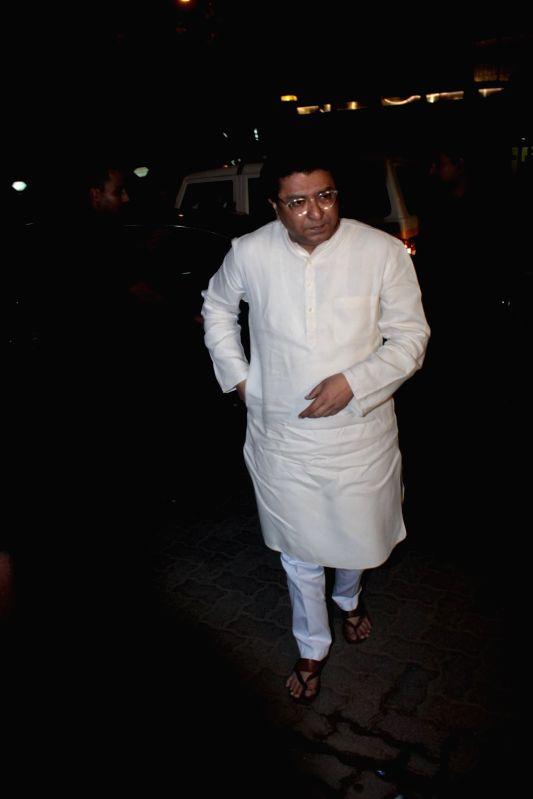 Maharashtra Navnirman Sena (MNS) chief Raj Thackeray during Priyanka Chopra's party in Mumbai on April 26, 2017. - Priyanka Chopra