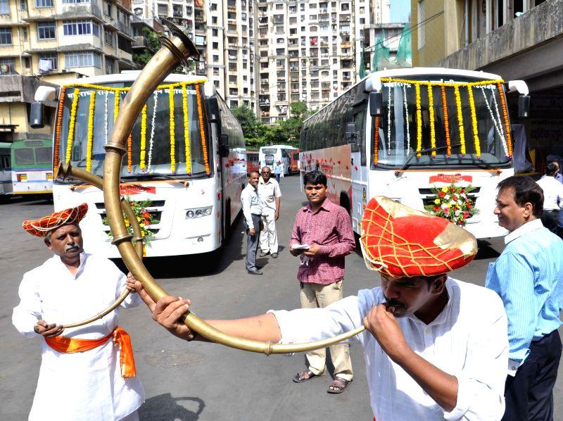 Maharashtra State Transport Department's luxury buses `Shivshahi` launched at Mumbai Central Depot in Mumbai on June 1, 2017.