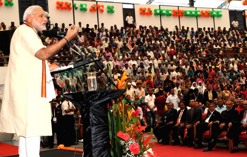 Prime Minister Narendra Modi addresses at the Civic Reception organised for him in Mahe, Seychelles on March 11, 2015. - Narendra Modi