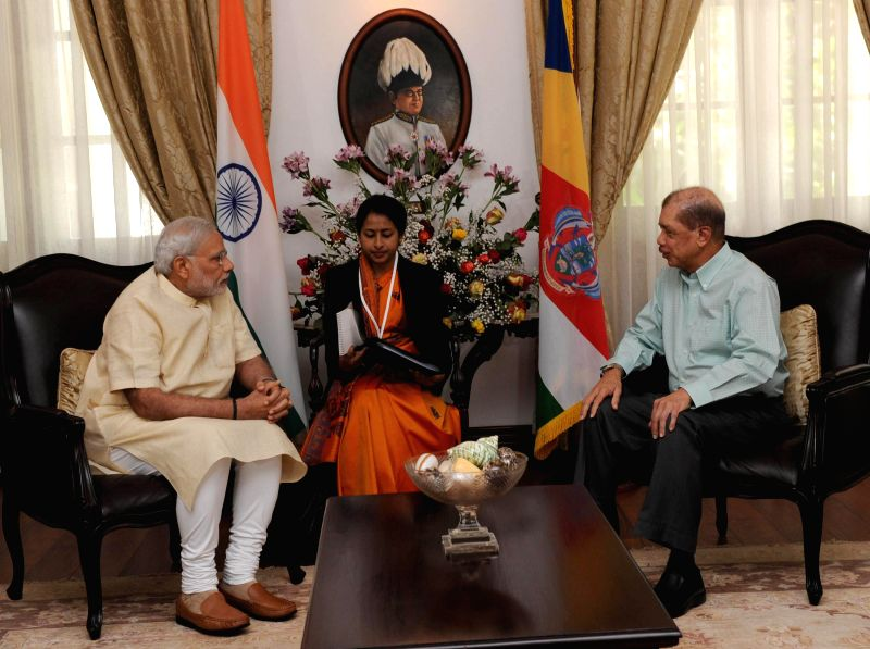 Prime Minister Narendra Modi during a One-to-One meeting with the President of Seychelles, James Michel, at State House, in Mahe, Seychelles on March 11, 2015. - Narendra Modi