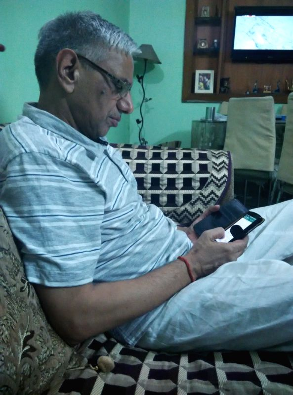Mahesh Dubey, 63, at his home in Ghaziabad.