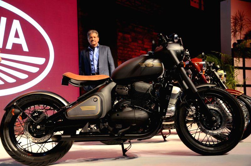 Mahindra Group Chairman Anand Mahindra at the launch of Jawa motorcycles in India; in Mumbai(Image Source: IANS)