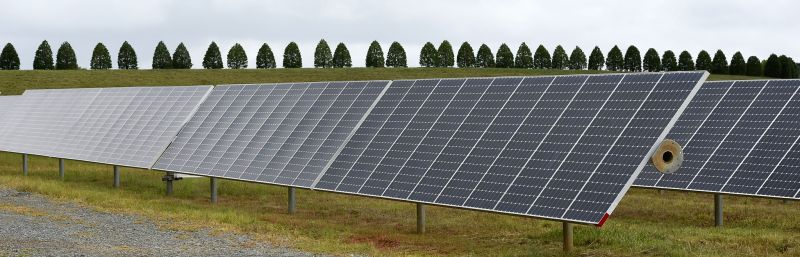 Photo taken on July 22, 2014 shows the solar panels at Apple Data Center in Maiden, North Carolina, the United States. Running entirely on renewable energy, the ...