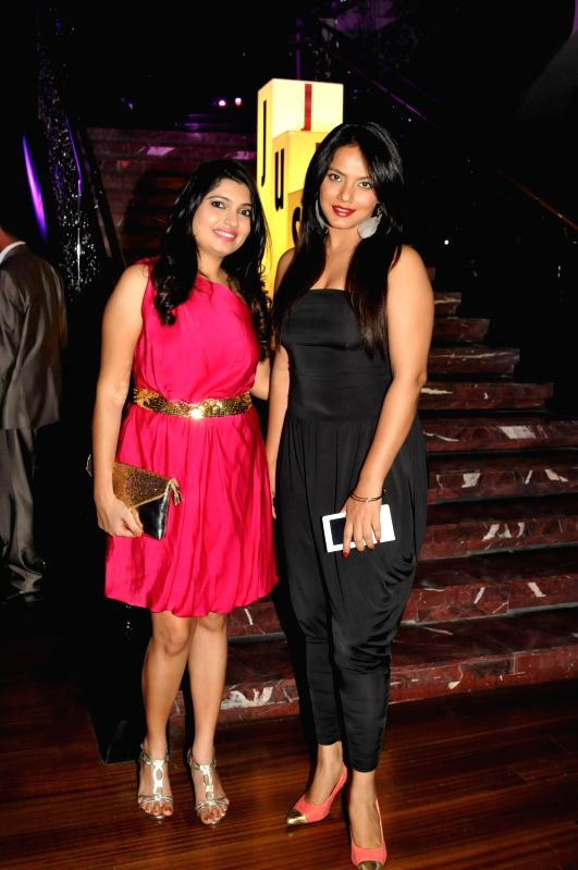 Majida Ukani and Neetu Chandra during Just Cavalli Fragrance launch party in Mumbai on April 10, 2014.