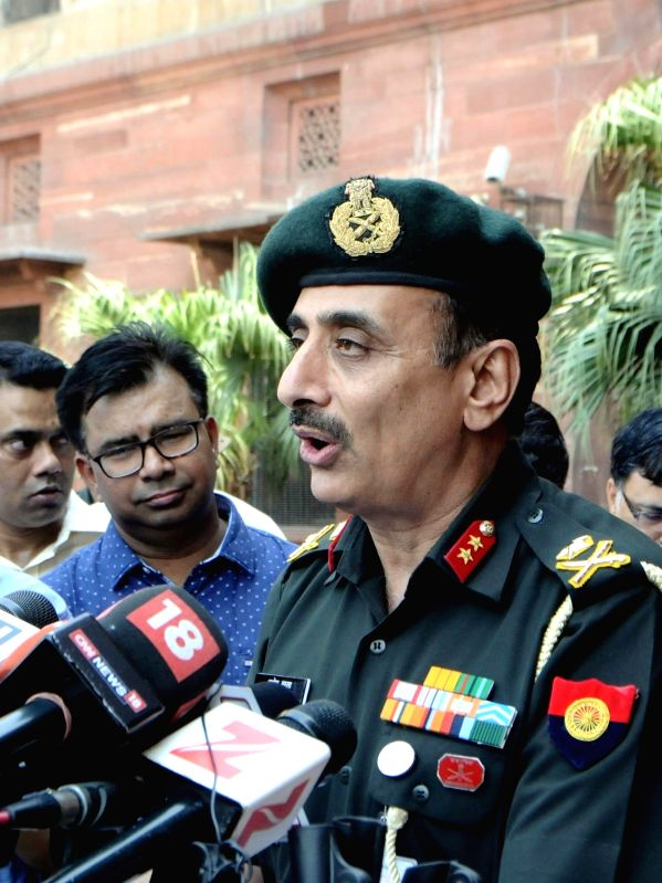 Major General Ashok Narula briefs press regarding  'punitive' assault on Pakistan posts;  in New Delhi on May 23, 2017.