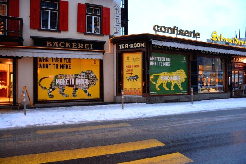 `Make in India` advertisements come up near the venue of Annual Meeting of the World Economic Forum (WEF) in Davos, Switzerland. The meeting is scheduled to be held from 21st -24th January 2015.