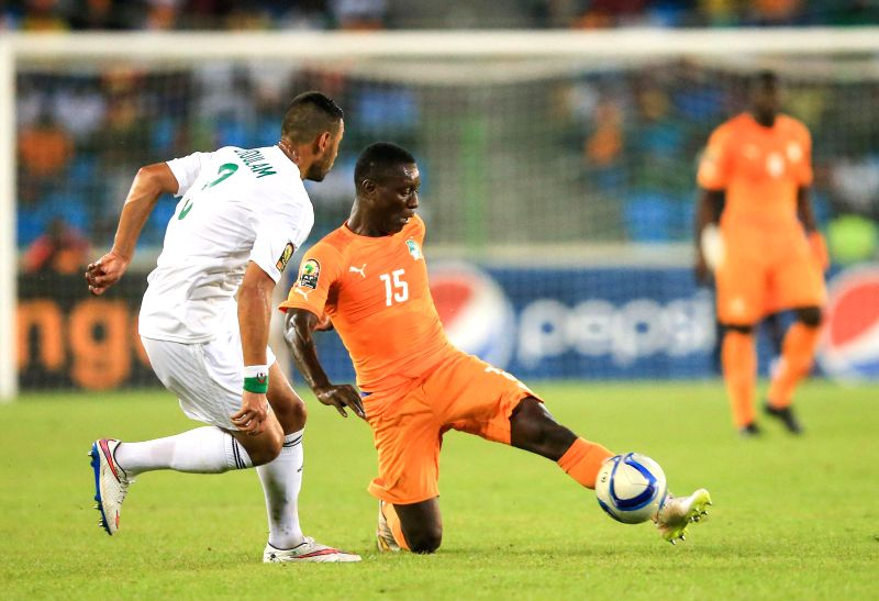 Max Alain Gradel of Cote d'Ivoire competes during a quarterfinal match of Africa Cup of Nations against Algeria in Malabo, Equatorial Guinea, Feb. 1, 2015. Cote ...