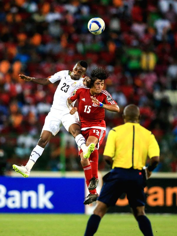 Harrison Afful (L) of Ghana competes during the semi-final match of Africa Cup of Nations between Ghana and Equatorial Guinea in Malabo, Equatorial Guinea, Feb. 5, ...